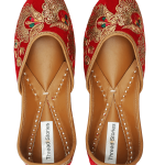 Red Velvet Embroidered Jutti for Women