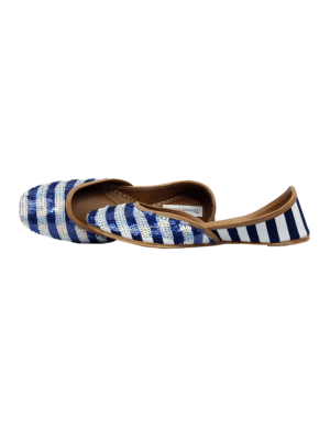 Silver & Blue Sequin Stripes Jutti